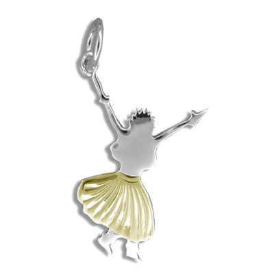 Sterling Silver Yellow Gold Coated Kahiko Hula Dancing III Pendant