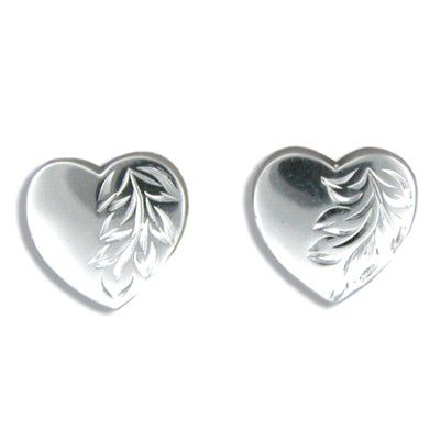 Sterling Silver Hand Carved Hawaiian Maile leaf  with Heart Shaped Pierced Earrings