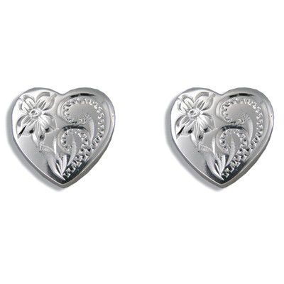 Sterling Silver Hand Carved Hawaiian Plumeria and Scroll with Heart Shaped Pierced Earrings