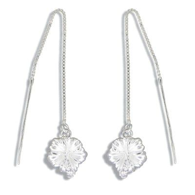 Sterling Silver White Sand Hawaiian Hibiscus with Clear CZ Long Chain Earrings