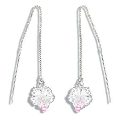 Sterling Silver White Sand Hawaiian Hibiscus with Pink CZ Long Chain Earrings