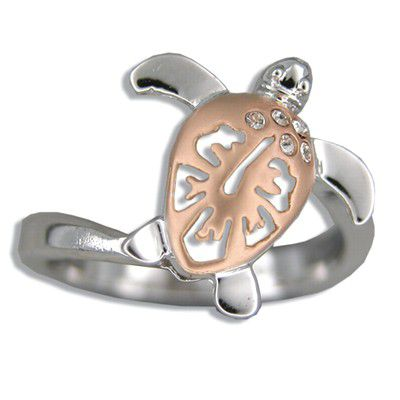 Sterling Silver Rose Two Tone Hibiscus Honu Ring
