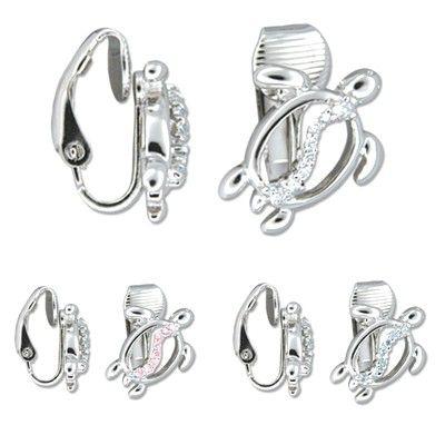 Sterling Silver Hawaiian Honu CZ Clip on Earrings