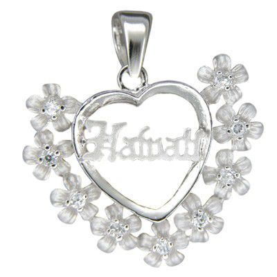 Sterling Silver Hawaiian Plumeria and Hawaii with Heart Shaped Pendant