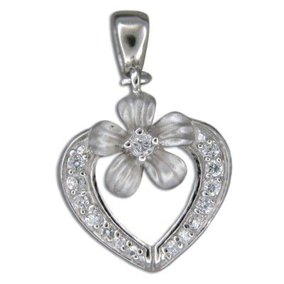 Sterling Silver Hawaiian Plumeria and CZ with Heart Shaped Slide Pendant