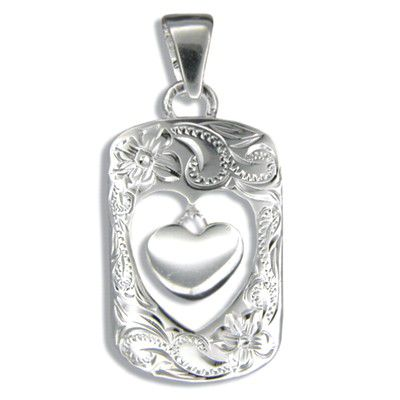 Sterling Silver Hawaiian Open Frame Pendant with High Polished Baby Heart Charm