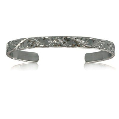 Fine Engraved Sterling Silver Hawaiian Plumeria and Scroll 8mm Cuff Bangle