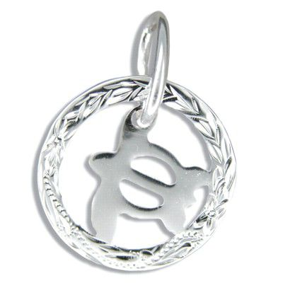 Sterling Silver Hawaiian Maile with High Polished Baby Honu Pendant