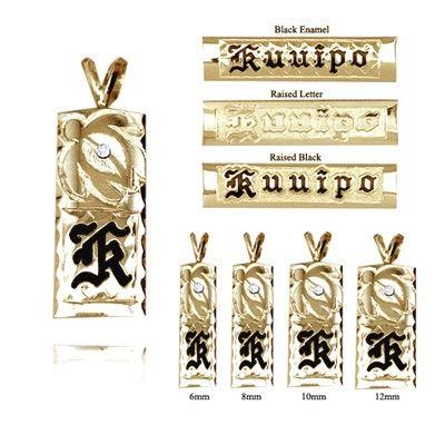 手彫りのダイヤモンドタートル付き14Kイエローゴールドシングルイニシャルハワイアンペンダント