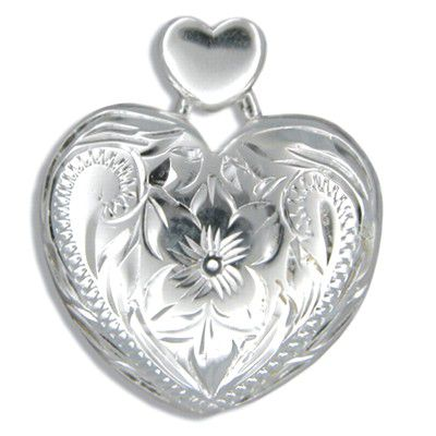 Sterling Silver Hawaiian Plumeria and Scroll with Heart Shaped Pendant