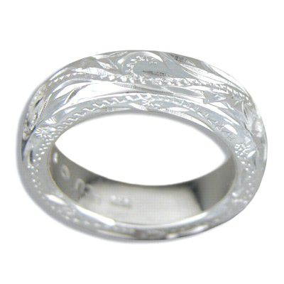 Sterling Silver Heavy Hawaiian Plumeria and Scroll Ring