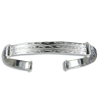 Sterling Silver Hawaiian Plumeria and Scroll 6mm Cuff Bangle