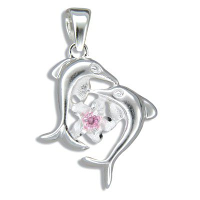 Sterling Silver Double Dolphin with Hawaiian Plumeria Pink CZ Pendant