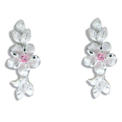 Sterling Silver Hawaiian Plumeria and Maile Leaf with Pink CZ Earrings