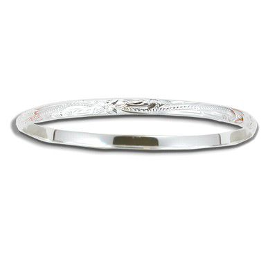 Sterling Silver 4mm Hawaiian Plumeria and Scroll with Plain Edge Bangle