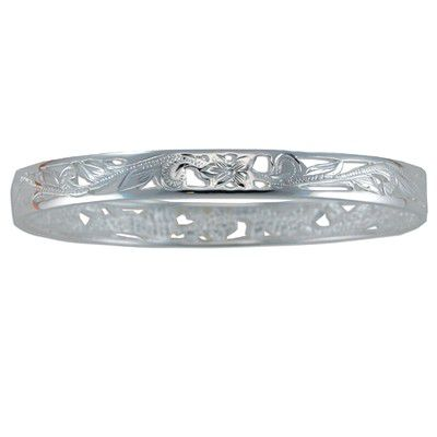 Sterling Silver 8mm Cut-in Hawaiian Plumeria and Scroll with Plain Edge Bangle
