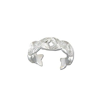 Sterling Silver Cut-Out Hawaiian Plumeria Design Toe Ring