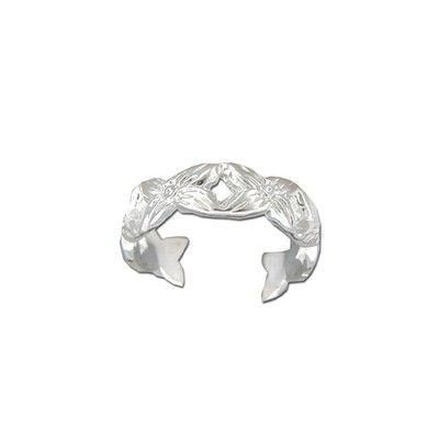 Sterling Silver Cut-Out Hawaiian Plumeria Design Toe Ring