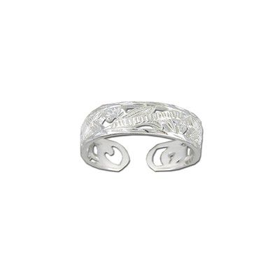 Sterling Silver Cut-In Hawaiian Plumeria and Scroll Design Toe Ring