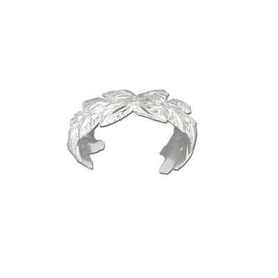 Sterling Silver Cut-Out Hawaiian Maile Leaf Design Toe Ring