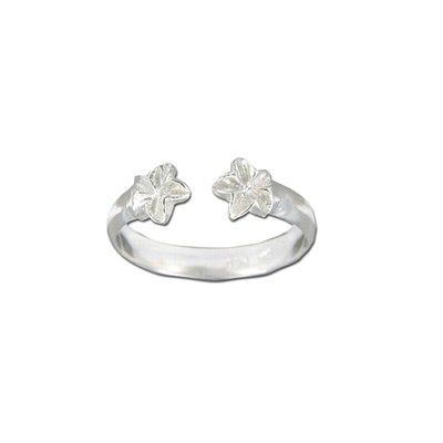 Sterling Silver Double Hawaiian Plumeria Design Toe Ring