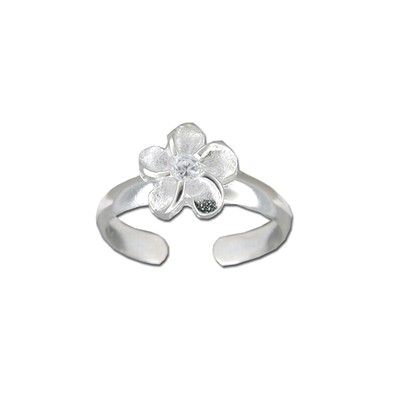 Sterling Silver 8mm Hawaiian Plumeria with CZ Design Toe Ring