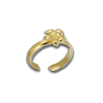 Sterling Silver Yellow Gold Coated 8mm Hawaiian Plumeria Design Toe Ring
