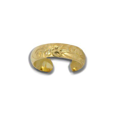 Sterling Silver Yellow Gold Coated Hawaiian Plumeria and Scroll Toe Ring