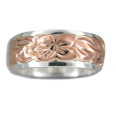 Sterling Silver Two Tone Rose Hawaiian Plumeria and Maile Ring