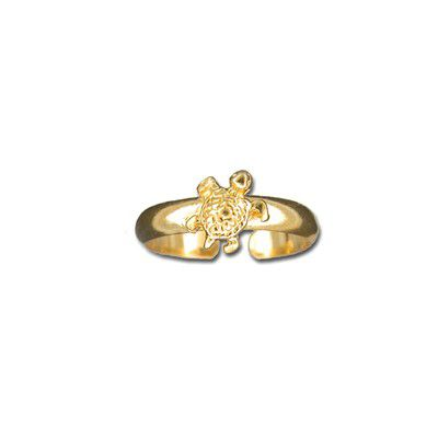 Sterling Silver Yellow Gold Coated Hawaiian Sea Turtle Design Toe Ring