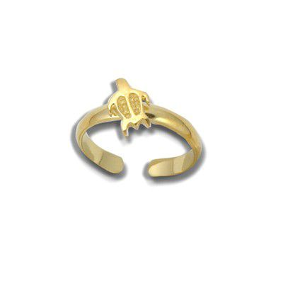 Sterling Silver Yellow Gold Coated Hawaiian HONU Design Toe Ring