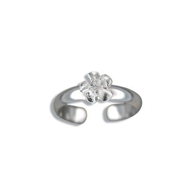 Sterling Silver 6mm Hawaiian Plumeria with CZ Design Toe Ring