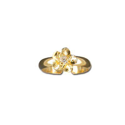 Sterling Silver Yellow Gold Coated 6mm Hawaiian Plumeria with CZ Design Toe Ring