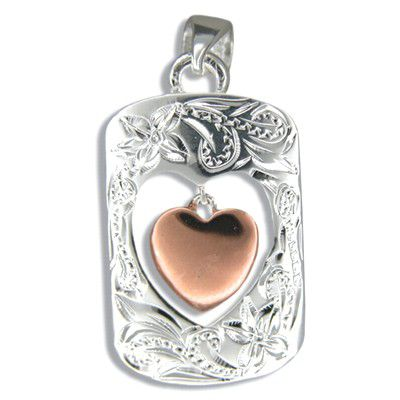Sterling Silver Two Tone Hawaiian Open Frame Pendant with Rose Gold Coated Baby Heart Charm