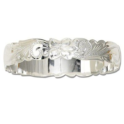 Sterling Silver 12mm  Hawaiian Cut-out Bangle