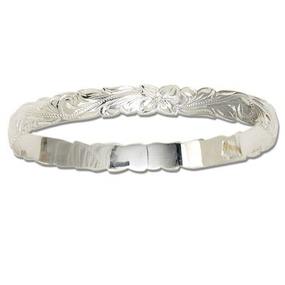Sterling Silver 8mm  Hawaiian Cut-out Bangle
