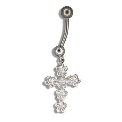 Sterling Silver Dangling Hawaiian Plumeria and Cross Shaped Belly Ring