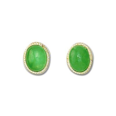 14KT Yellow Gold with Oval Shaped Green Jade Pierced Earrings