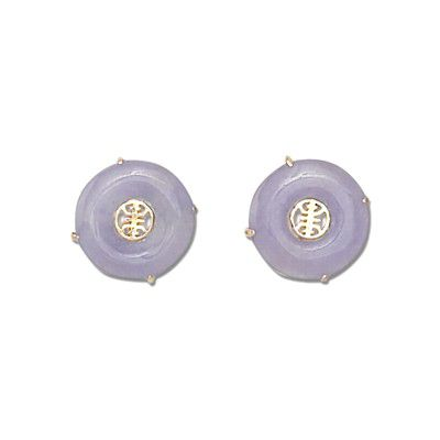 14KT Yellow Gold 'Long Life' with Round Shaped Lavender Jade Pierced Earrings