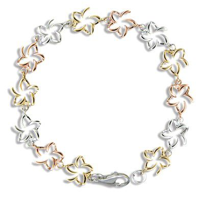 Sterling Silver Hawaiian Tri-color Open Plumeria Bracelet