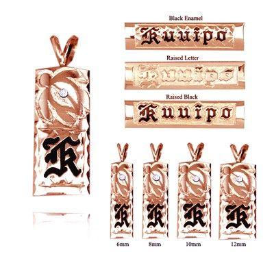 手彫りダイヤモンドタートル付き14Kローズゴールドシングルイニシャルハワイアンペンダント