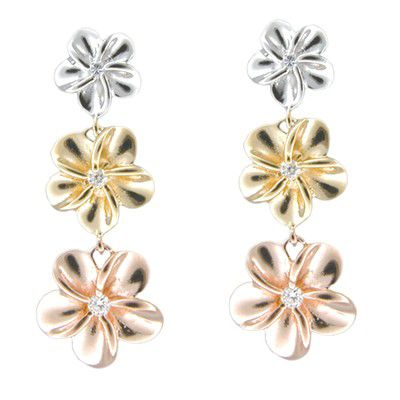 Sterling Silver Tri-color CZ Plumeria Drop Pierced Earrings