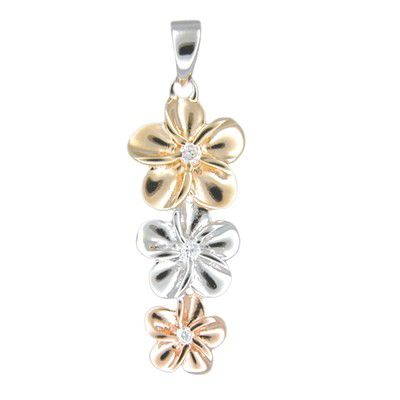 Sterling Silver Hawaiian Tri-color CZ Plumeria Pendant
