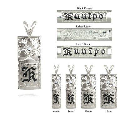 手彫りダイヤモンドプルメリアと14Kホワイトゴールドシングルイニシャルハワイアンペンダント