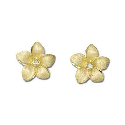 14K Yellow Gold 15mm Diamond Hawaiian Plumeria Pierced Earrings