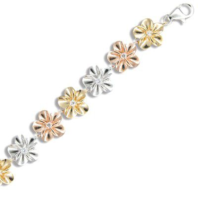 Sterling Silver 6MM Hawaiian Tri-color CZ Plumeria Bracelet