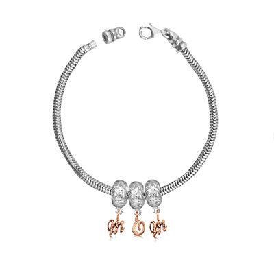 Sterling Silver Mother's Day Hawaiian Bead Starter Bracelet with Screw End