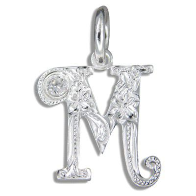 Sterling Silver Hawaiian Initial Pendant with CZ
