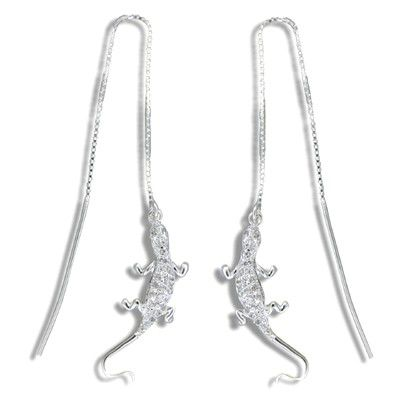 Sterling Silver White Sand Hawaiian Gecko with Clear CZ Long Chain Earrings