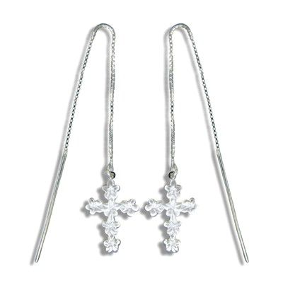 Sterling Silver White Sand Hawaiian Plumeria and Cross Long Chain Earrings